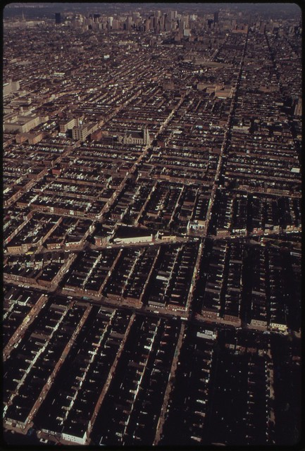 DOCUMERICA: Row Houses, Philadelphia, Pennsyvlania. August, 1973 by Dick Swanson.