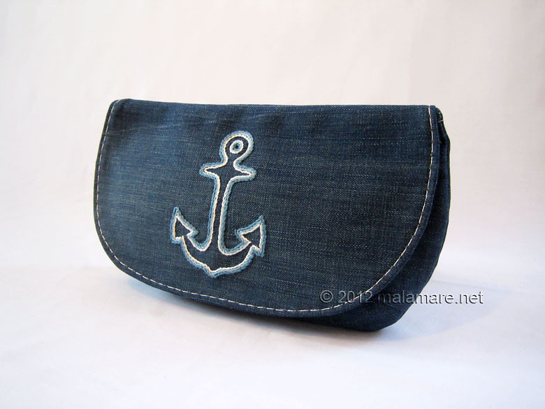 upcycled blue jeans clutch bag with hand embroidered anchor sea