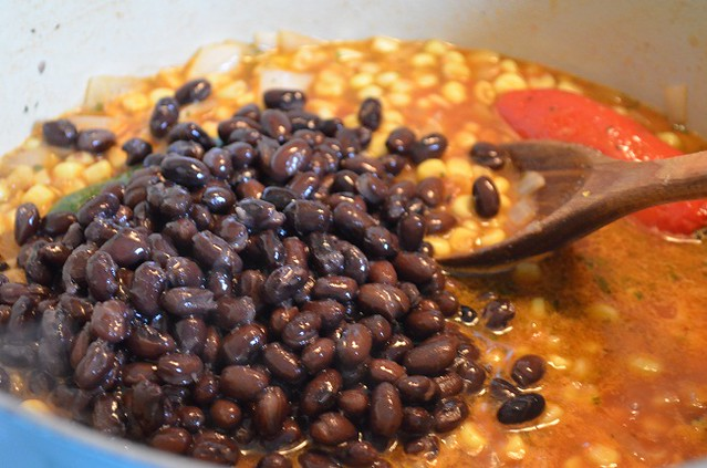adding black beans to soup base