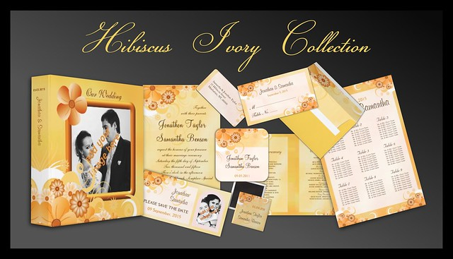 Ivory Gold Hibiscus Floral Wedding Collection