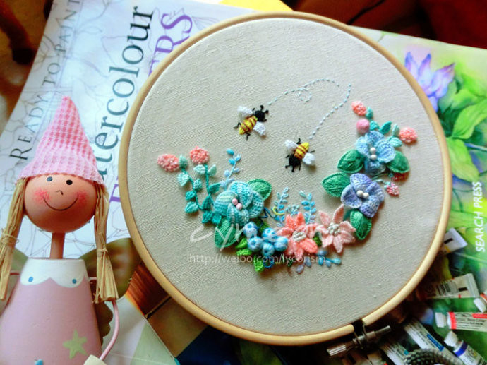 mintcream  stumpwork Embroidery