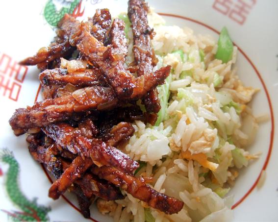 Tempeh kering on fried rice