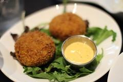 meal, lunch, fried food, crab cake, vegetarian food, arancini, food, dish, cuisine, falafel,