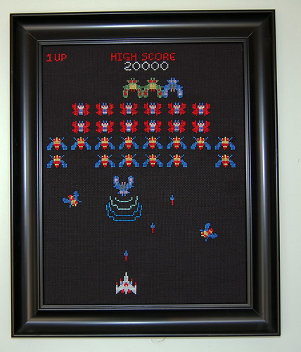 Galaga cross stitched