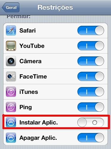 Restringir instalação de Aplicativos