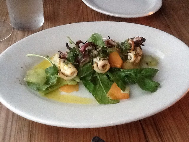 Grilled Monterey Bay Squid w/ Melon, Celery, chili & Salsa Verde 2