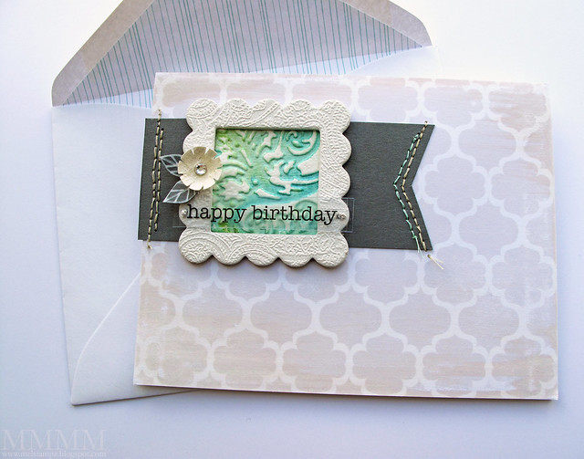 Regal Flourishes - Distress Watercolour Embossing card