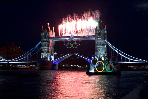 Tower Bridge fireworks - rehearsal for the Olympics opening ceremony