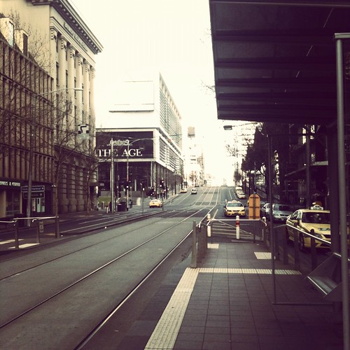 Waiting for my tram. Early morning Melbourne.
