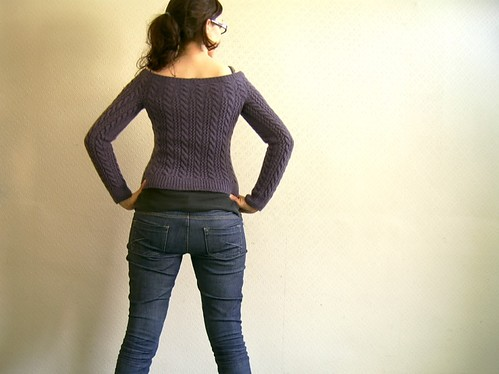 lace and cable jumper: back