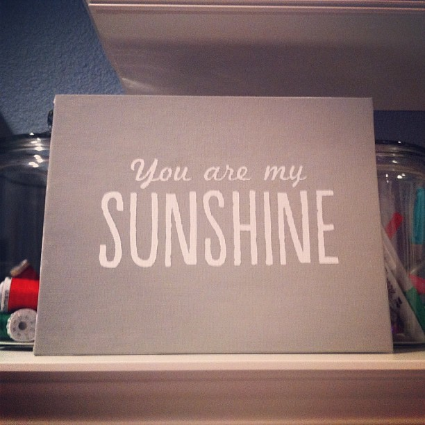 "Project from @KaraNoelLawson #PinterestParty! Vinyl from @thedecallab applied to canvas, paint over, dry, remove vinyl. The gray paint is my ""when skies are gray""...addition to the ""You are my sunshine""..#JulieHumor"