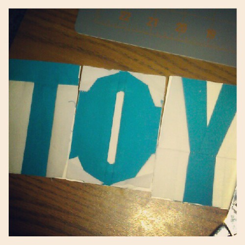Attempting my first paper pieced letters. So far so good... Just one more to go. :)
