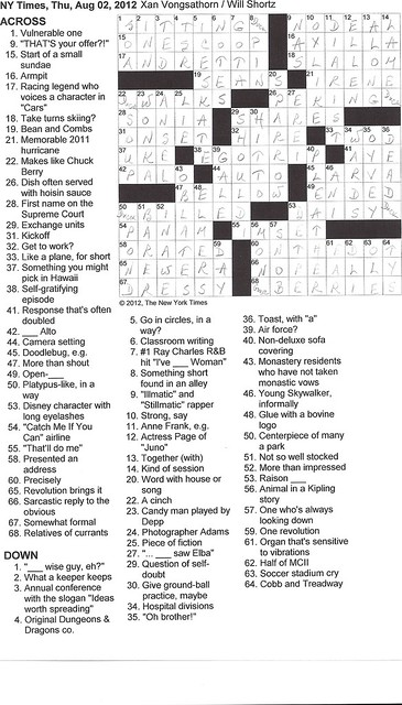 NY Times Puzzle - Thursday, August 2, 2012