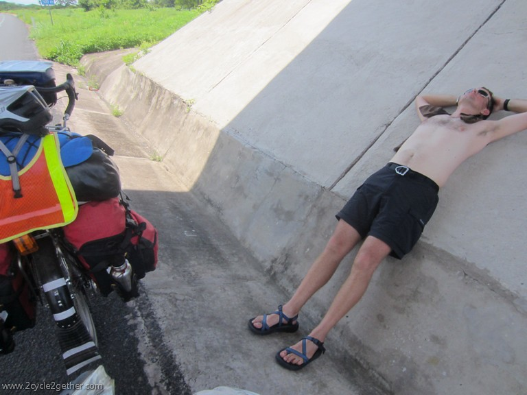 Kai trying to cool down under an overpass, Toll road 15, Nayarit