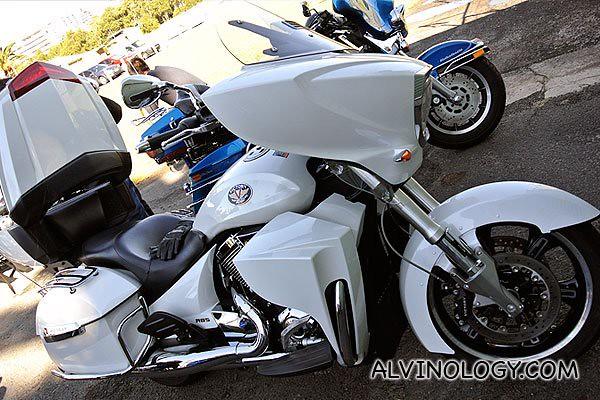 The beautiful white Victory bike I rode on