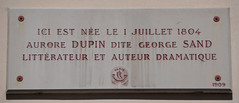 Photo of George Sand white plaque