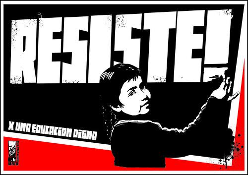 Ilustración con el texto: Resiste. X una educación digna.