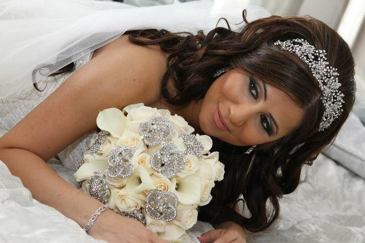 crystal encrusted bridal headband, brooch bridal bouquet