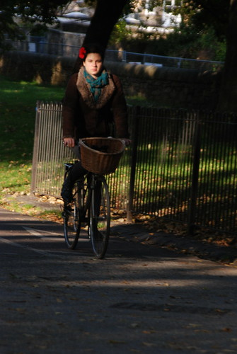 Brown sheepskin jacket and basket