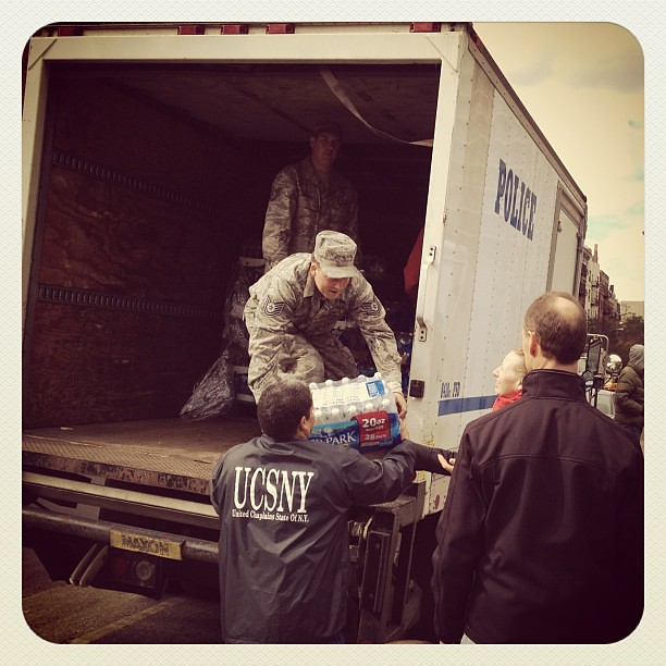 National Guard unloading water crates on E 10th St #alphabetcity  #nyc