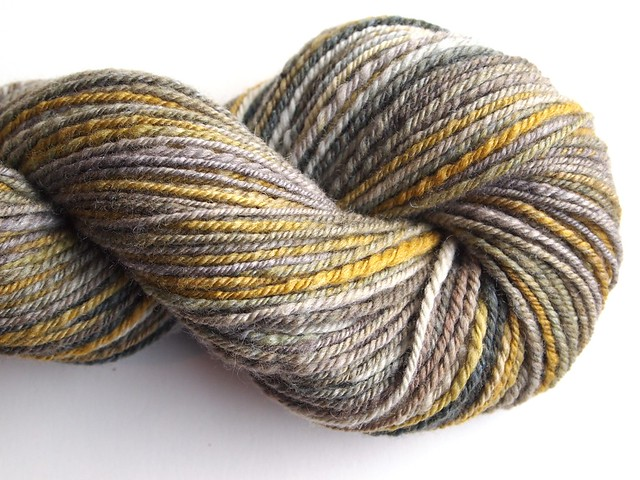 FCK-Greek Myths-fiber club-October 2012-Persephone-Despair-4oz-80-15Polwarth-Tussah Silk-hand carded-chain plied-172yds