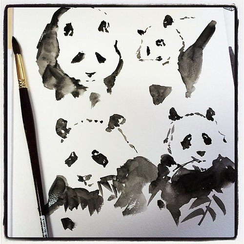#panda #watercolor #longboard