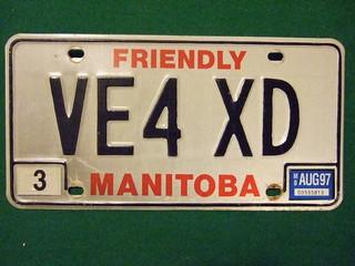 MANITOBA 1997--- AMATEUR RADIO LICENSE PLATE #VE4-XD