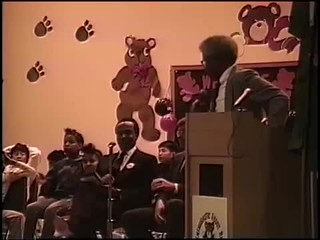 Norm Rice speaking at Bailey Gatzert School Arbor Day Celebration, 1990