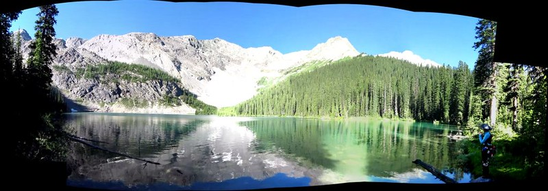 Stitched Panorama of Mystic Lake with Mystic Peak in the distance