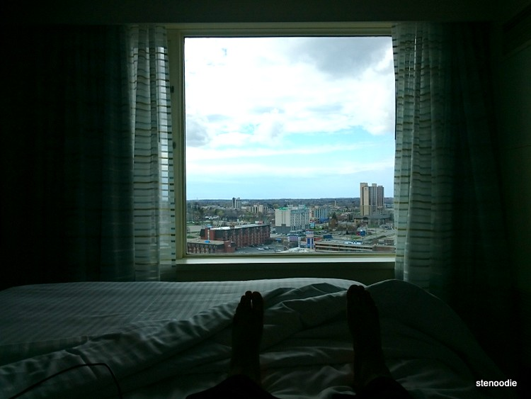 View of the city through a hotel window