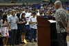 "UH Manoa Civil Engineering Professor Roger Babcock administers the customary Obligation of the Engineer oath to the new graduates at 2016 Spring College of Engineering Convocation at the Neil Blaisdell Arena on May 13, 2016.  For more photos go to: <a href=""https://www.flickr.com/photos/eaauh/sets/72157668405830766"">www.flickr.com/photos/eaauh/sets/72157668405830766</a>"