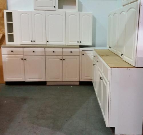 White laminate cabinet set $950
