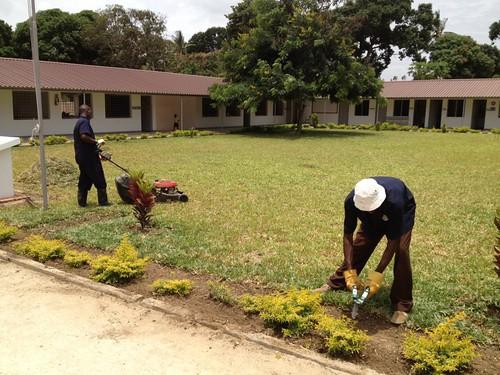 William & Kennedy prepare the gardens