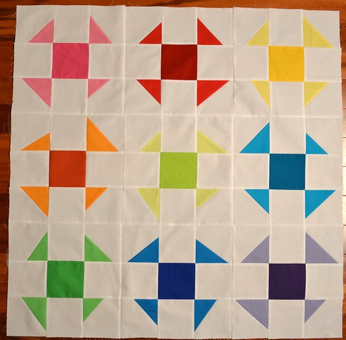 Wonky Baby Quilt - front detail before quilting