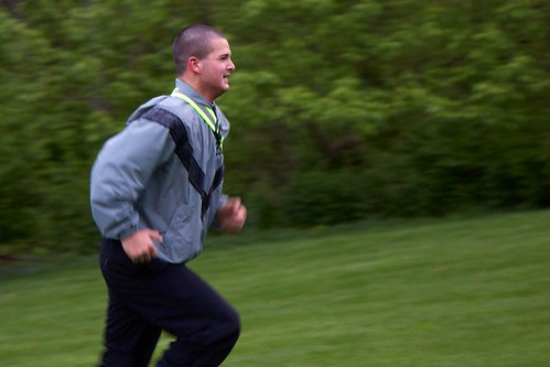 IU Kokomo Cadet Joshua Thorp runs during physical training.