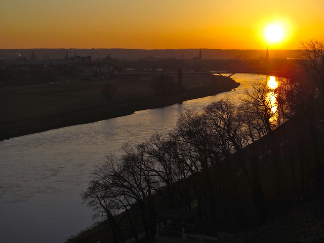 Sunset over Dresden and the Elbe