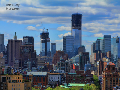 1 World Trade Center lookin tall! Lower NYC skyline, puffy clouds