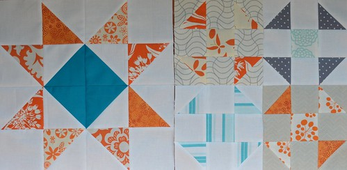 Aqua and Orange Bee - Blocks for Shanna