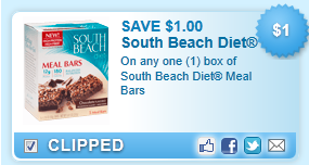 South Beach Diet Meal Bars Coupon