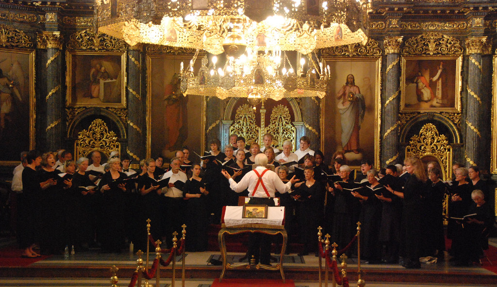 Rachmaninoff Choir rehearses for its concert in the Saborna Crkva in Belgrade, Serbia