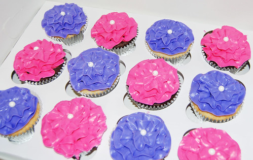 pink and purple ruffle cupcakes