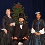 Karen MacDonald as Mary Todd Lincoln, Ken Cheeseman as President Abraham Lincoln, and Jacqui Parker as Elizabeth Keckley in the Huntington Theatre Company production of Paula Vogel's A Civil War Christmas: An American Musical Celebration, playing at the BU Theatre. Part of the 2009-2010 season.
