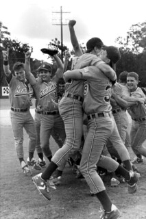 FSU's baseball team celebrates their victory: Tallahassee, Florida
