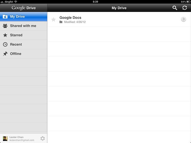 Google Drive iOS (iPad)
