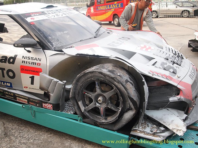Crashed GT Racing Car
