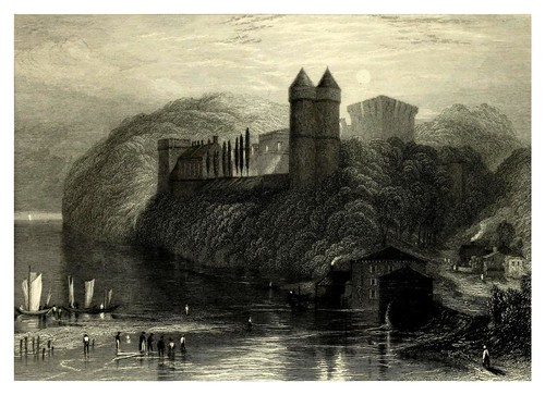 005-Castillo de Tancarville desde el rio-Wanderings by the Seine (1834)- Joseph Mallord William Turner