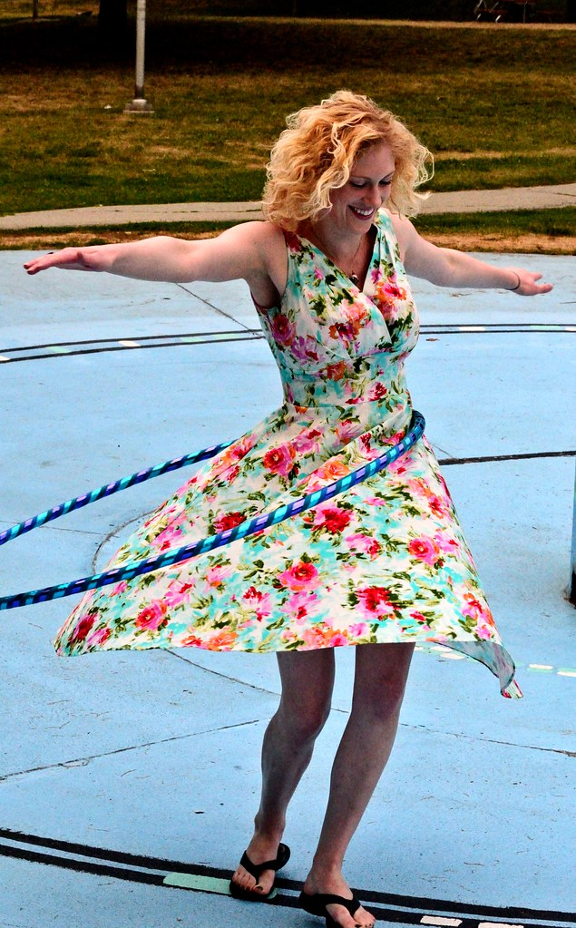 Marie Antoinette hula hooping in East Lynn Park