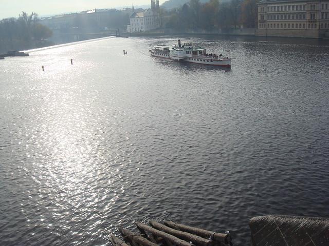 The Vltava as it flows under Charles Bridge in Prague