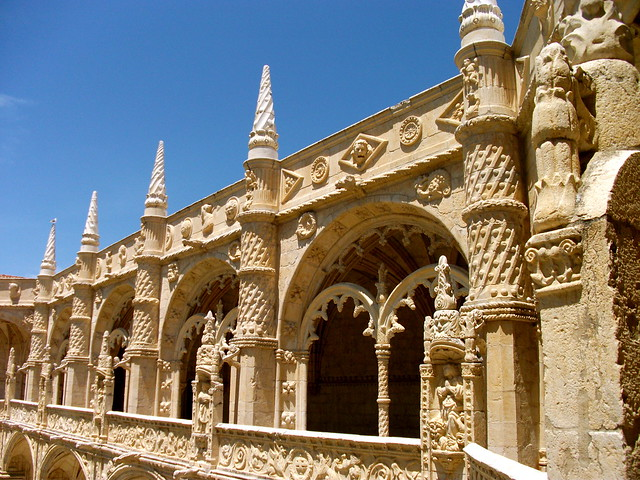 Architecture of the Jeronimos Monastery in Portugal