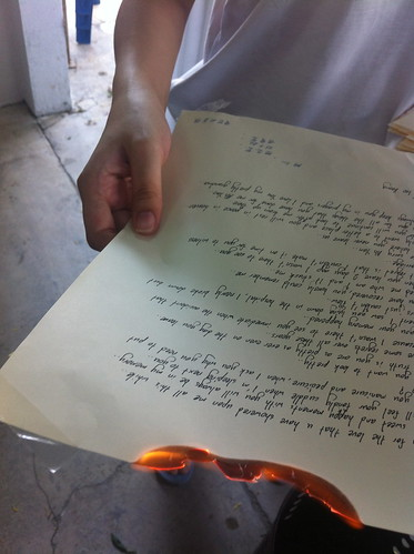 Burning a letter to Grandmother